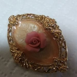 Goldtone with rose pin